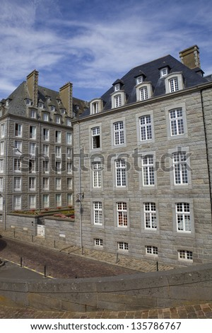 typical intra muros st malo houses, brittany, france - stock photo