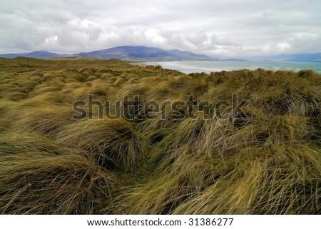 Typical Irish landscape on windy day in Dingle peninsula, Brandon head - stock photo