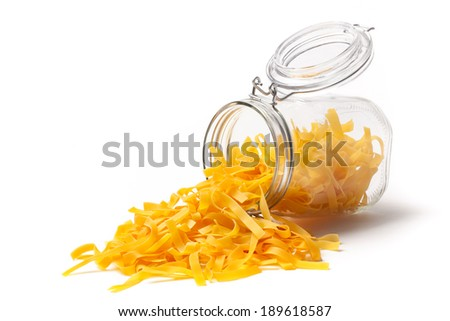 Typical italian food pasta in an open jar. - stock photo