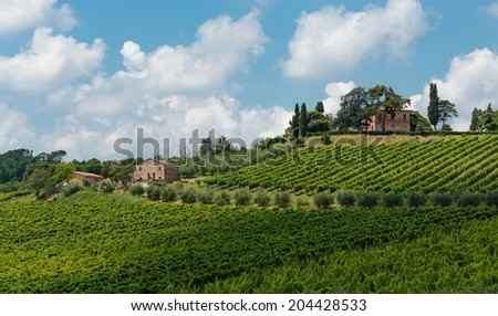 Typical Italian landscape in Tuscany - stock photo