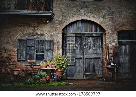 typical italian nook in tuscan village, Italy, Europe - stock photo