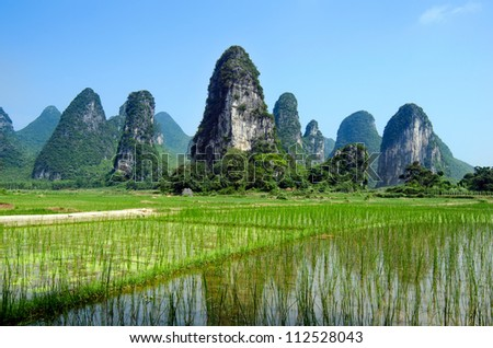 Typical landscape in Yangshuo Guilin, China - stock photo