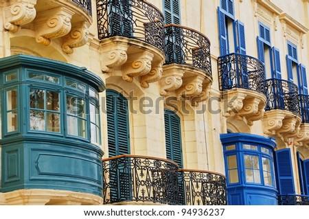 Typical Maltese balconies - stock photo
