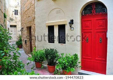 Typical mediterranean courtyard - stock photo