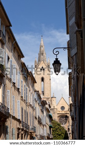 Typical narrow street in Aix en Provence, France - stock photo
