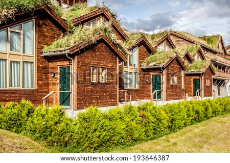 Typical norwegian house with grass on the roof - stock photo
