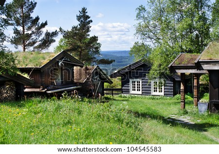Typical Norwegian houses in  Oslo, Norway - stock photo