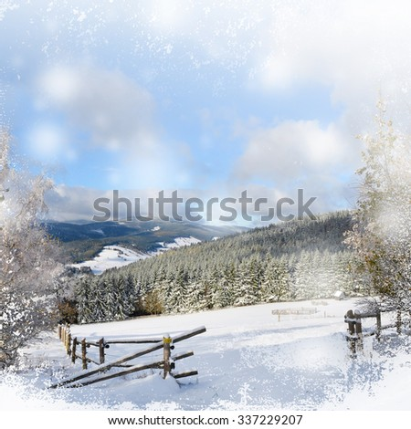 Typical norwegian red fishing hut with roof background with white snow grunge - stock photo