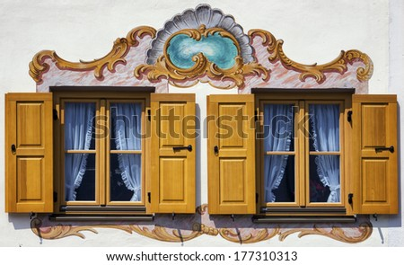 typical old bavarian facade - mural - stock photo
