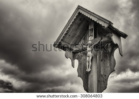 typical old Christian Wayside Shrine  at a country road - stock photo