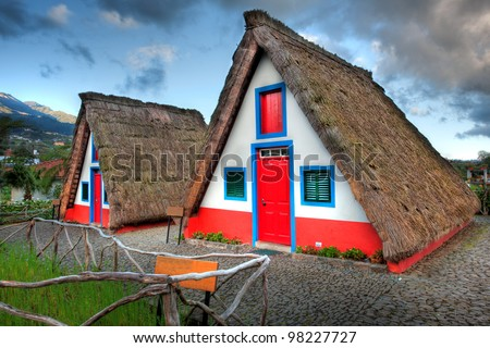 Typical old houses on Madeira island, Portugal - stock photo