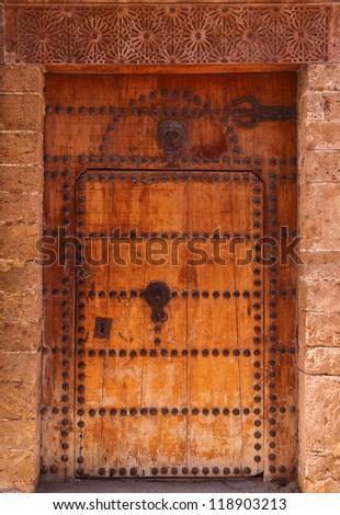 Typical, old, Moroccan riad door, Azemmour, El Jadida, Morocco. - stock photo