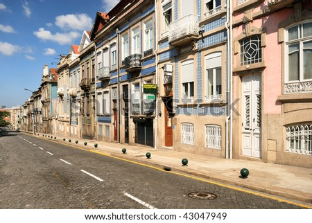 Typical old portugal houses in Porto - stock photo
