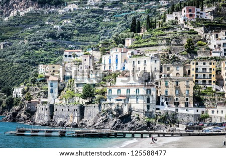 typical old town at the amalfi-coast in italy - stock photo