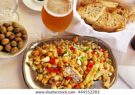 typical portuguese boiled codfish with grain - stock photo