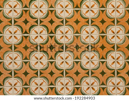 Typical Portuguese pattern azulejo - stock photo