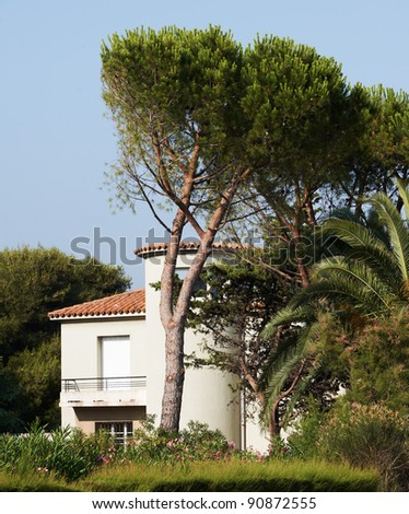Typical Provence style sea-side villa in the Mediterranean sea region of South France - stock photo