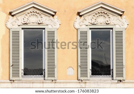 Typical renaissance windows in Rome, Italy - stock photo