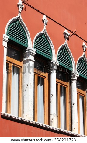Typical renaissance windows in Venice, Italy - stock photo