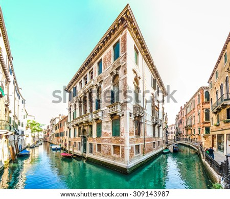Typical romantic scene with traditional venetian building between the channels  in Venice, Italy - stock photo