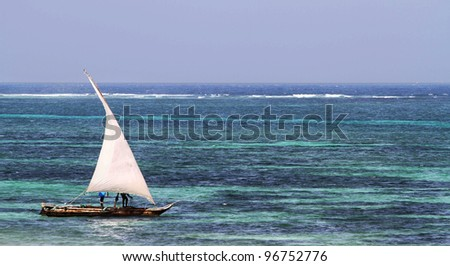 Typical sailing boat in kenya - stock photo