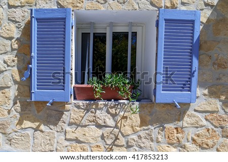 Typical Shutters of the Provence, France - stock photo