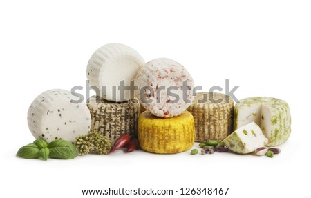 Typical Sicilian cheese from sheep, with spices. On white background - stock photo