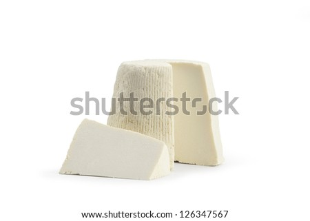 Typical Sicilian salt ricotta. On white background - stock photo