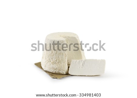 Typical Sicilian salted ricotta cheese On white background - stock photo