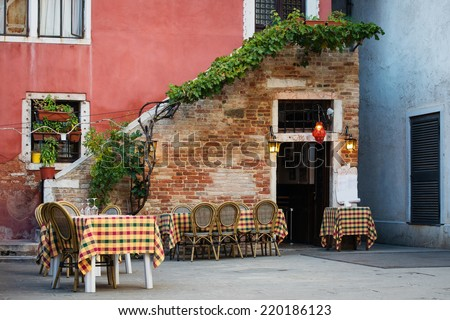 typical small Italian cafe outdoor - stock photo