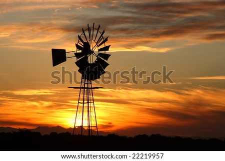 Typical South African sunset on a farm. - stock photo
