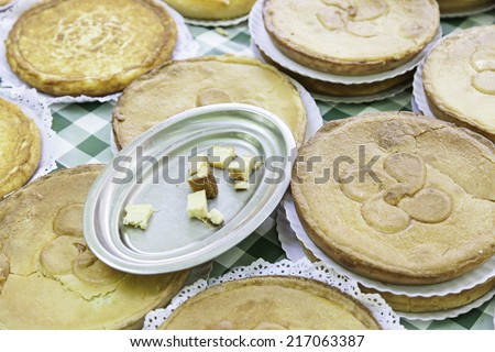 Typical Spanish pastry, detail of a typical cake, dessert, sweet - stock photo