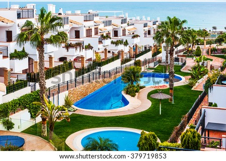 Typical spanish townhouse with a swimming pool near the sea. Alicante province, Spain