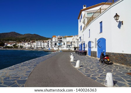 Typical Spanish village of Cadaques in the Mediterranean coast, Costa Brava, Catalonia, Spain - stock photo