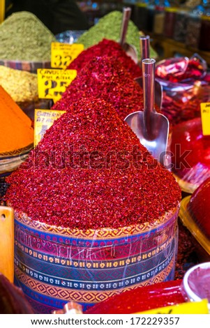 Typical spices on sale in the turkish markets in Istanbul - stock photo