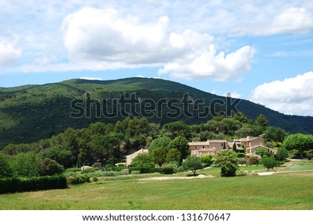 Typical stone houses in Lourmarin village, Vaucluse department, Provence, France - stock photo
