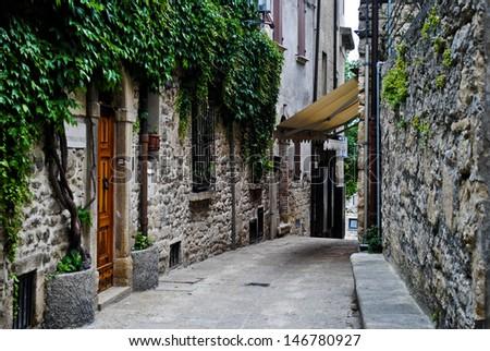 Typical stone street of San Marino - stock photo