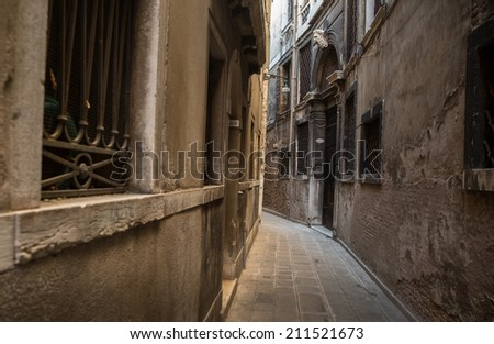 Typical street in Venice, Italy - stock photo