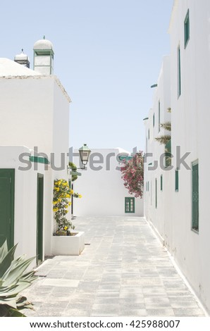Typical street of Costa Teguise with green wooden doors and windows and colorful flower in Costa Teguise, Canary Islands, Spain - stock photo