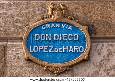 Typical street sign with the main street of Bilbao (Spain) - stock photo