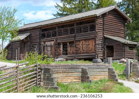 typical swedish wooden house - farmhouse yard in stockholm - stock photo