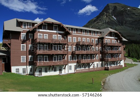 Typical Swiss-style lodging built by the pioneering railroad companies at the turn of the century in Montana. - stock photo