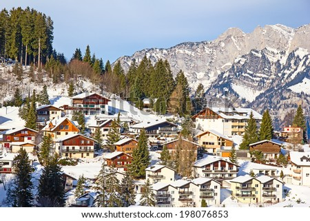 Typical swiss winter season landscape. January 2014, Switzerland. - stock photo