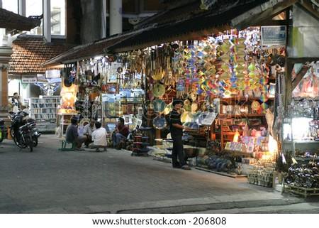 Typical tourist nightmarked at Kuta, Bali - stock photo