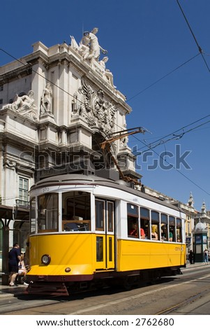 Typical Tram in Commerce Square, Lisbon, Portugal - stock photo