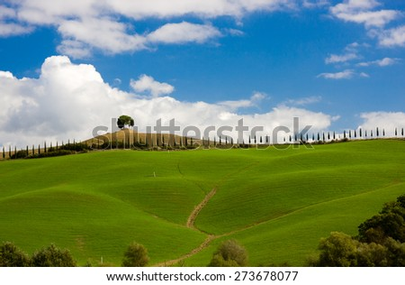 Typical tuscan landscape, Tuscany, Italy - stock photo
