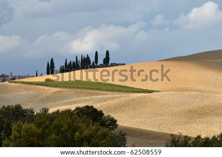 Typical Tuscan landscape, Val D'Orcia, Italy - stock photo