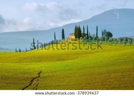 Typical Tuscany landscape of Val d'Orcia province. Tuscany, Italy. - stock photo