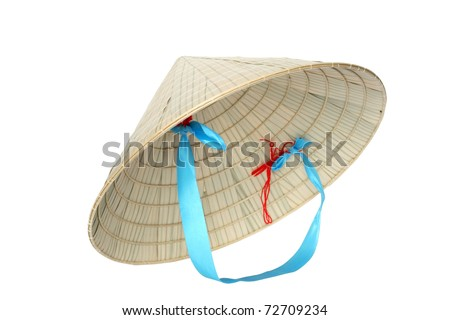 Typical Vietnamese conical straw hat isolated on white background with clipping path - stock photo