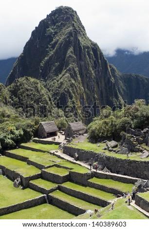 Typical view of Inca City of Machu Picchu, Peru - stock photo